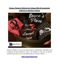 Choose Yhtack in Stitches for Unique Gifts and Customized Uniforms in Northen Virginia