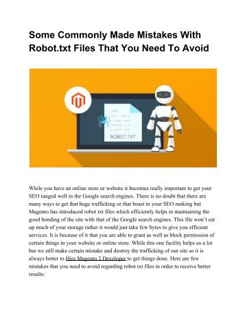 Some Commonly Made Mistakes With Robot.txt Files That You Need To Avoid