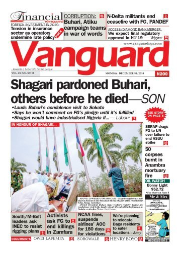 31122018 - Shagari pardoned Buhari others before he died - SON
