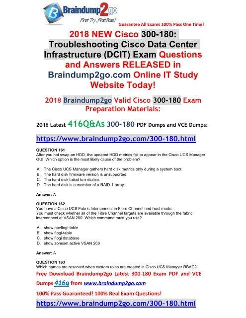 2019-Jan-Version]New Braindump2go 300-180 Dumps PDF Share