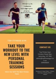 Take Your Workout to the New Level with Personal Training Sessions