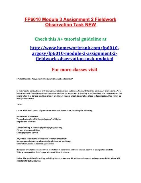 Fp6010 Module 3 Assignment 2 Fieldwork Observation Task New