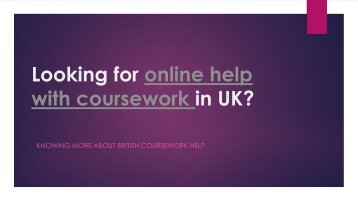 Looking for online help with coursework in UK