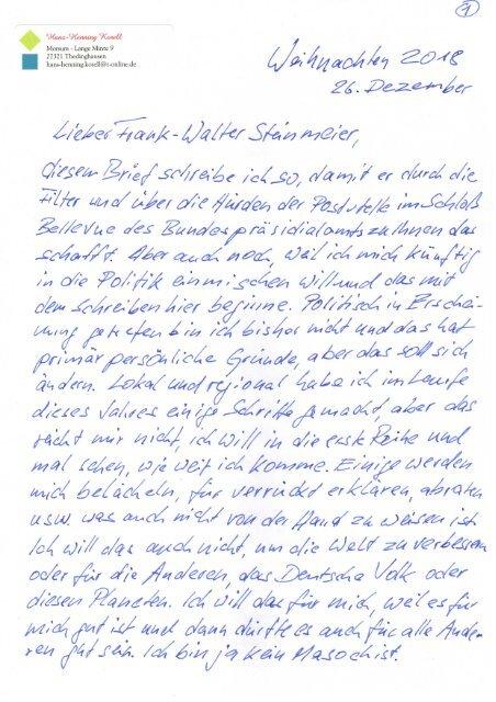 Brief an Bundespräsident Frank-Walter Steinmeier