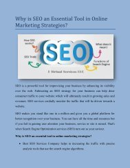 Why is SEO an Essential Tool in Online Marketing Strategies
