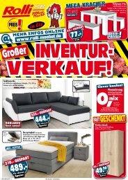 Grosser Inventurverkauf bei Rolli SB-Möbelmarkt in Elz/Limburg