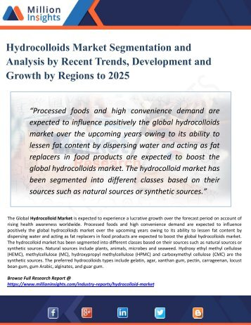 Hydrocolloids Market Analysis by Key Players, Industry Growth, Size, Share, Trends, Sales Forecast and Supply Demand to 2025