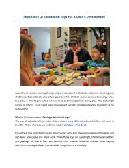 Importance Of Educational Toys For A Child's Development!