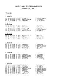 SPIELPLAN 1. BUNDESLIGA DAMEN Saison 2006 / 2007 Vorrunde