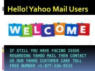 Yahoo Customer Help Number 1877-503-0107