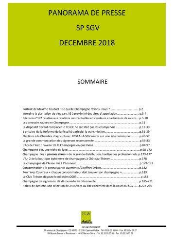 Panorama de presse Spécial SGV décembre 2018