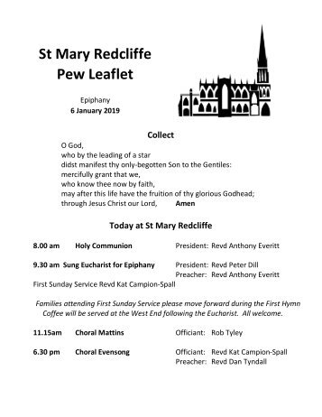 St Mary Redcliffe Church Pew Leaflet - January 6 2018