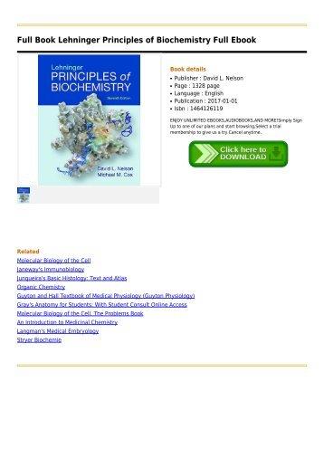 Lehninger Biochemistry Ebook