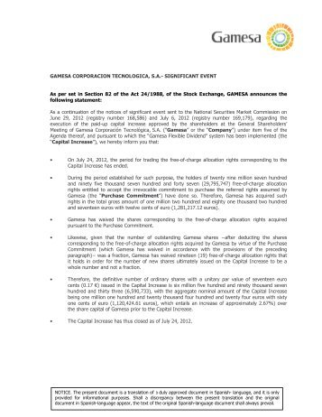 The Company submits the issue of 6590733 new - Gamesa
