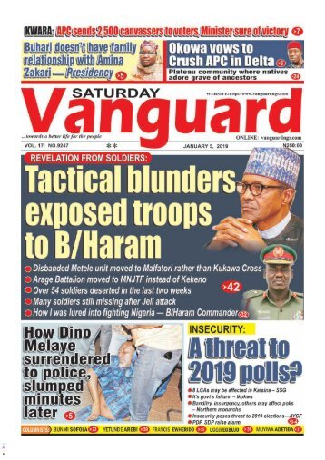 05012019 - Revelation from Soldiers: Tactical blunders exposed troops to B/Haram