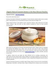 Organic Natural Cosmetic Butters is the New Skincare Routine