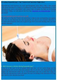Questions on Hypnotherapy