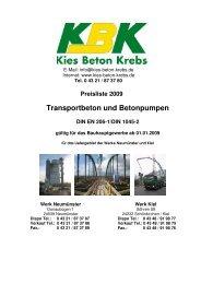 Preisliste 2009 Transportbeton und Betonpumpen DIN EN 206-1 ...