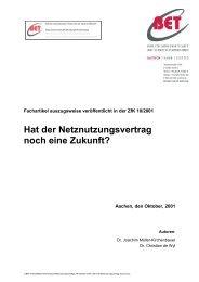 Hat der Netznutzungsvertrag noch eine Zukunft? - BET Aachen