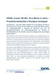 Produktionskapazität in Shanghai verdoppelt - Engel Austria