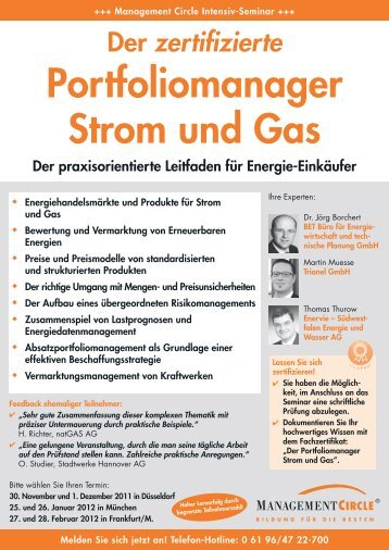 Seminar: Der zertifizierte Portfoliomanager Strom und ... - BET Aachen