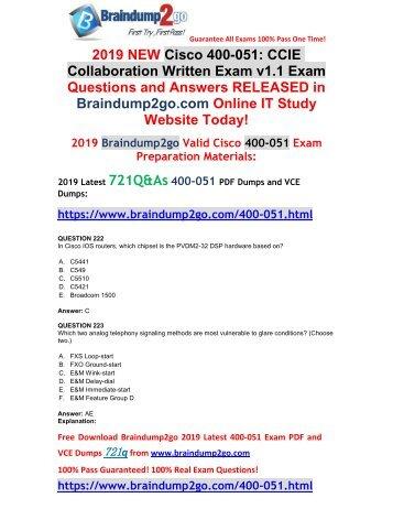 (Jan-2019-Version)NEW CCIE Collaboration 400-051 PDF Dumps 721Q Share(Q222-Q232)