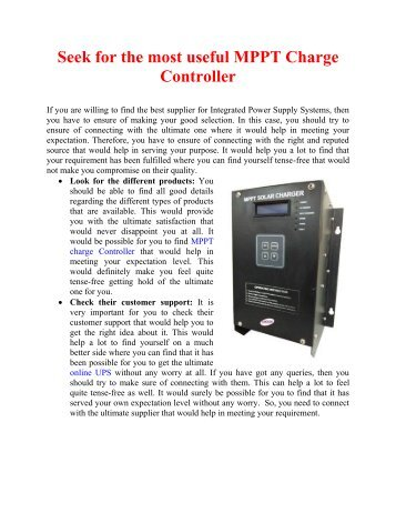 Seek for the most useful MPPT Charge Controller