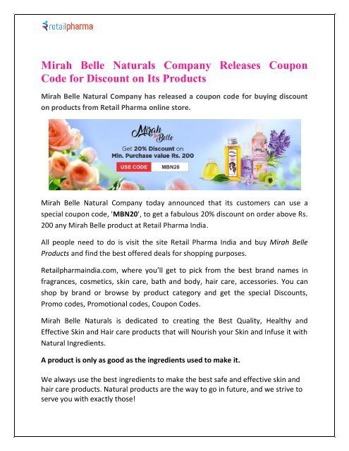 Mirah Belle Naturals Company Releases Coupon Code for Discount