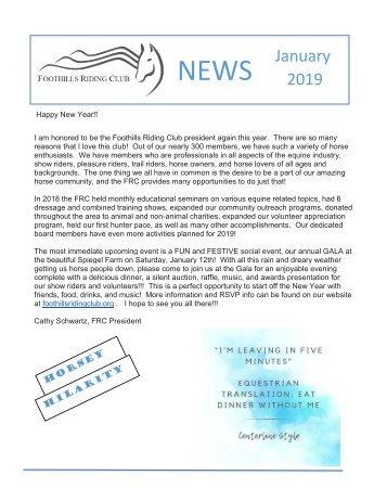 January 2019 FRC Member Newsletter