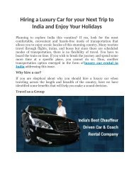 Hiring a Luxury Car for your Next Trip to India and Enjoy Your