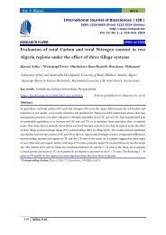 Evaluation of total Carbon and total Nitrogen content in two Algeria regions under the effect of three tillage systems|IJB