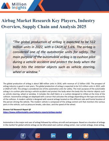 Airbag Market Research: Growth Opportunities by Regions, Types, Applications, Trend Forecast to 2025
