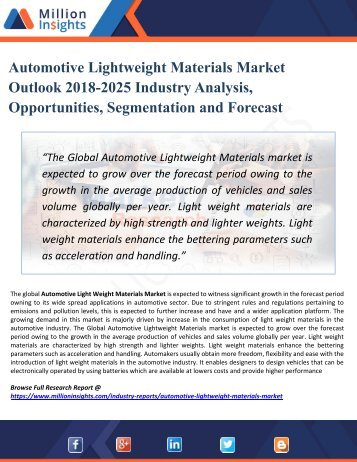 Automotive Lightweight Materials Market Segmentation and Analysis by Recent Trends, Development and Growth by Regions to 2025