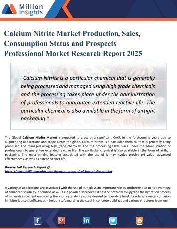 Calcium Nitrite Market Analysis by Product Types, Marketing Channel Development Trend, Market Effect Factors Analysis by 2025