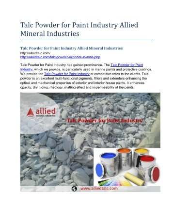 Talc Powder for Paint Industry Allied Mineral Industries