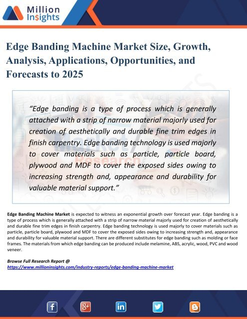 Edge Banding Machine Market 2025 Opportunities, Applications