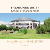 Sabanci University - School of Management Newsletter January 2019