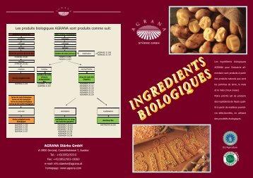 INGREDIENTS BIOLOGIQUES INGREDIENTS ... - Agrana