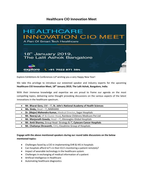Healthcare CIO Innovation Meet 2019