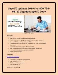 Sage 50 updates 2019 (+1-800 796-0471) Upgrade Sage 50 2019