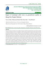 Impact of municipal solid waste on groundwater quality in Jhang City Punjab, Pakistan