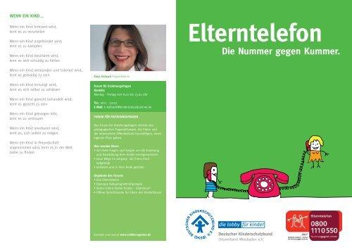 Elterntelefon Die Nummer gegen Kummer. - kinderschutzbund-wi.de