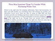 Three Most Important Things To Consider While Purchasing Winter Tent
