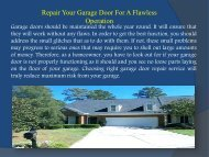 Repair Your Garage Door For A Flawless Operation
