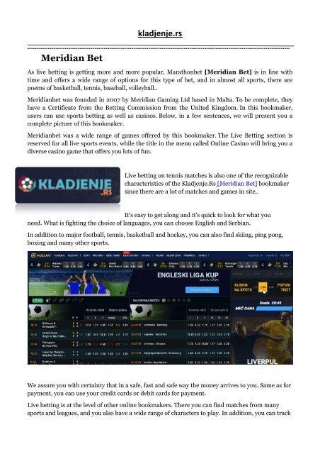 Kladjenje uzivo meridian betting joe bettinger