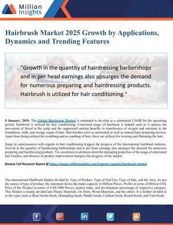 Hairbrush Market 2025 Industry Growth by Challenges, Opportunities