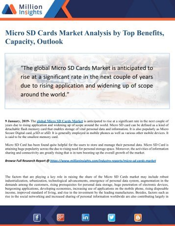 Micro SD Cards Market 2025 In-Depth Analysis by Top Key Benefits, Capacity, Outlook and Dynamics