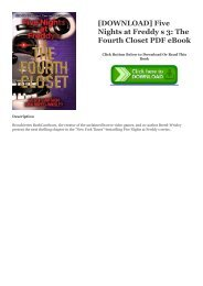 [DOWNLOAD] Five Nights at Freddy s 3: The Fourth Closet PDF eBook