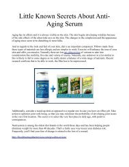 Little Known Secrets About Anti-Aging Serum