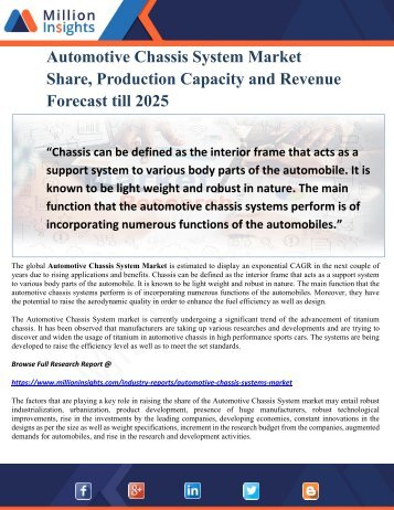 Automotive Chassis System Market Share, Production Capacity and Revenue Forecast till 2025